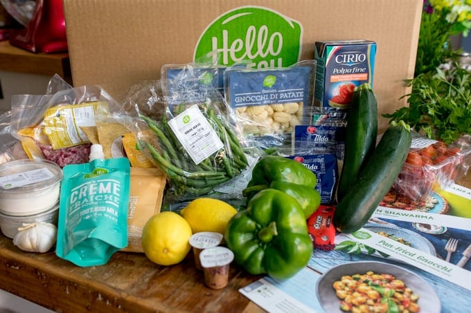 Contents of a HelloFresh recipe box