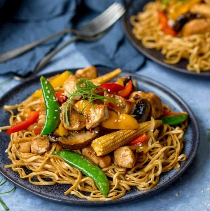 Honey and Soy Chicken Stir Fry with Spicy Asian Noodles