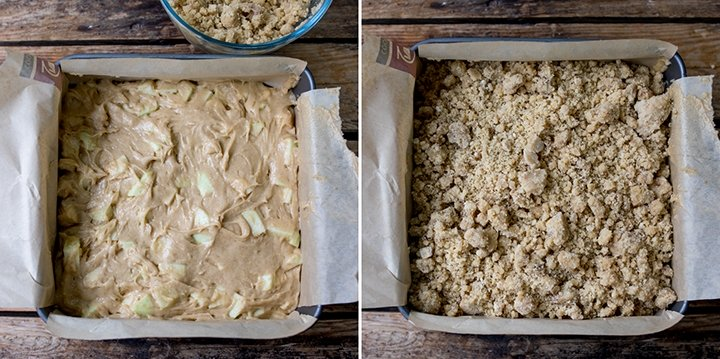 Apple crumble cake mix in a tray. One image without the crumble, one image with the crumble topping.