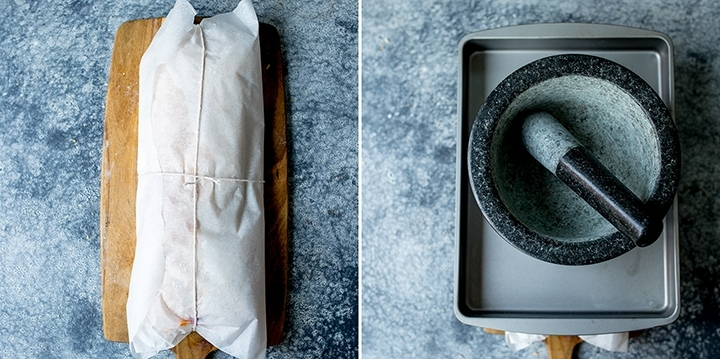 A french pressed sandwich wrapped in baking parchment and string. Further image with a weight on top to press the sandwich.