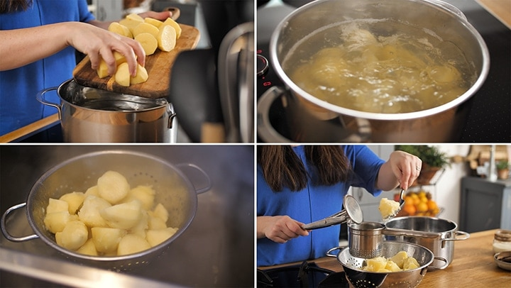 Collage of preparing potatoes for mashed potatoes