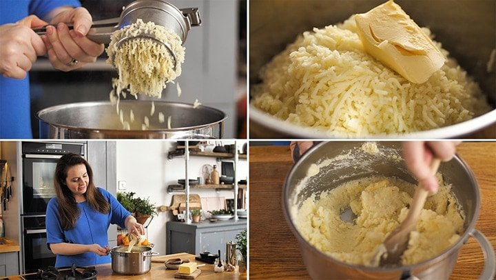 Collage of making mashed potatoes