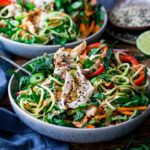 square image of chicken zoodle salad with Thai peanut sauce