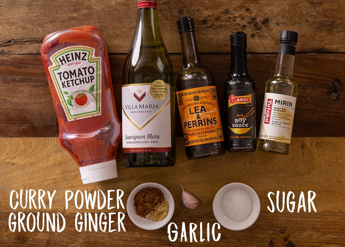 Ingredients for spicy curry sauce for Tonkatsu on a wooden table