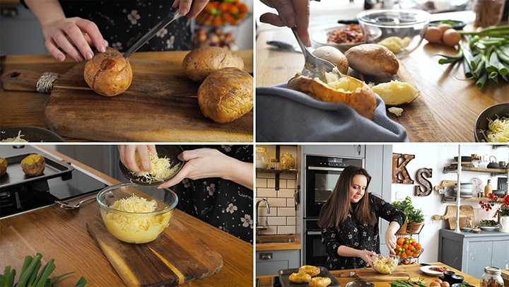4 image collage of baking potatoes, scooping out the filling and mashing with cheese, butter and bacon