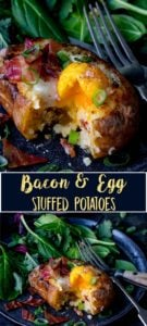 2 image collage of Egg and bacon stuffed baked potato with runny egg on a dark plate