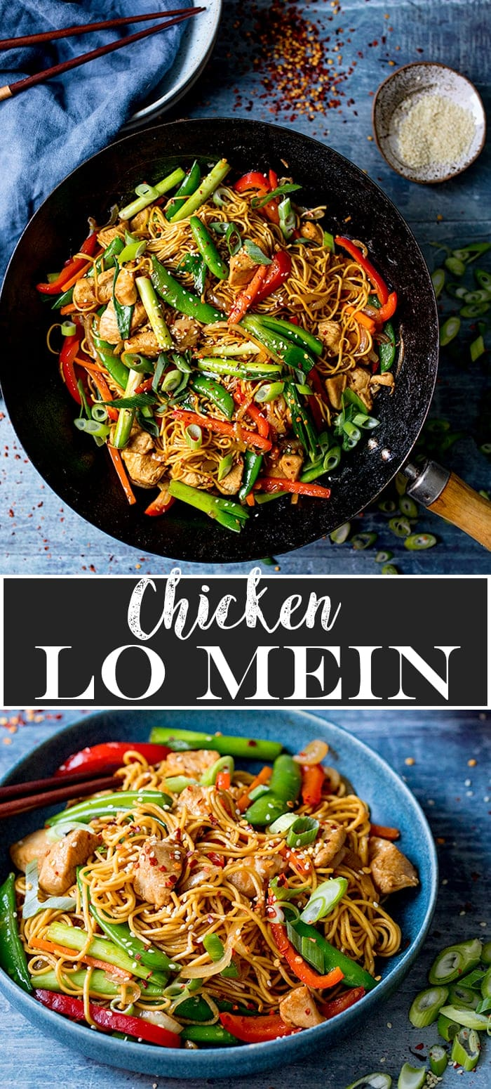 Collage of two photos of chicken lo mein. Top image in a wok, bottom image in a blue bowl