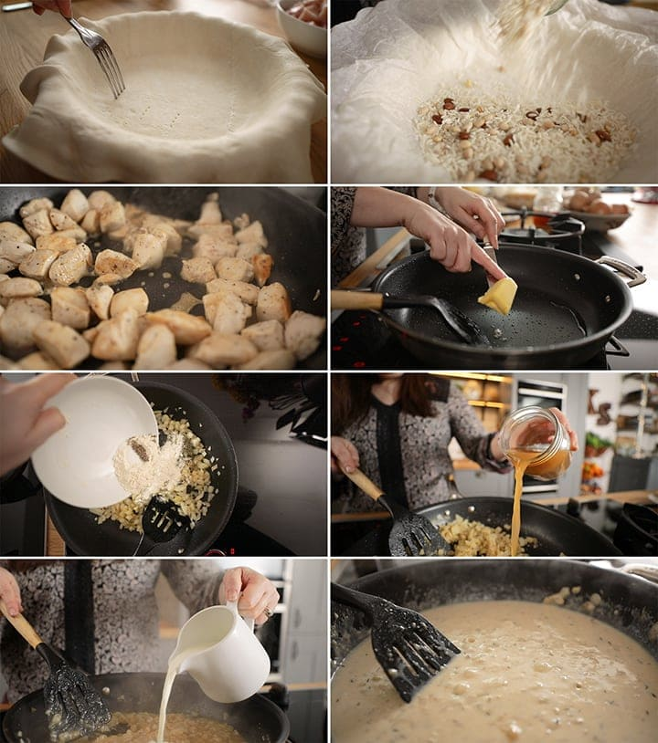 8 image collage of initial stages of making chicken and mushroom pie - from blind baking the pastry up until making the sauce