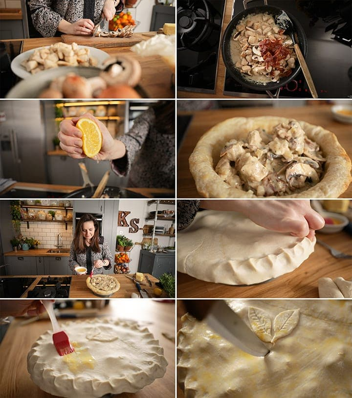 8 image collage of final stages of making chicken and mushroom pie - from cooking the filling to egg washing the pastry lid