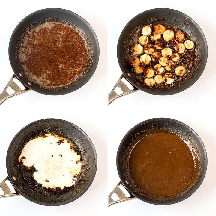 Process steps to make caramelized bananas and caramel sauce