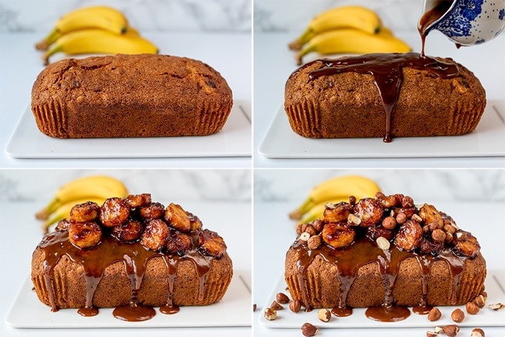 Collage of assembly steps for banana bread with caramelized bananas