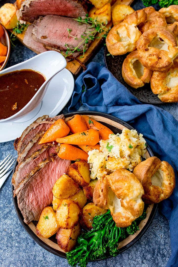 Overhead image of roast beef dinner