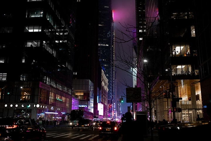 Nightime image of the glow from Time Square New York