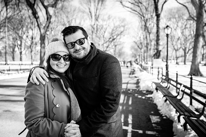 Black and white image of Nicky and Chris in Central Park