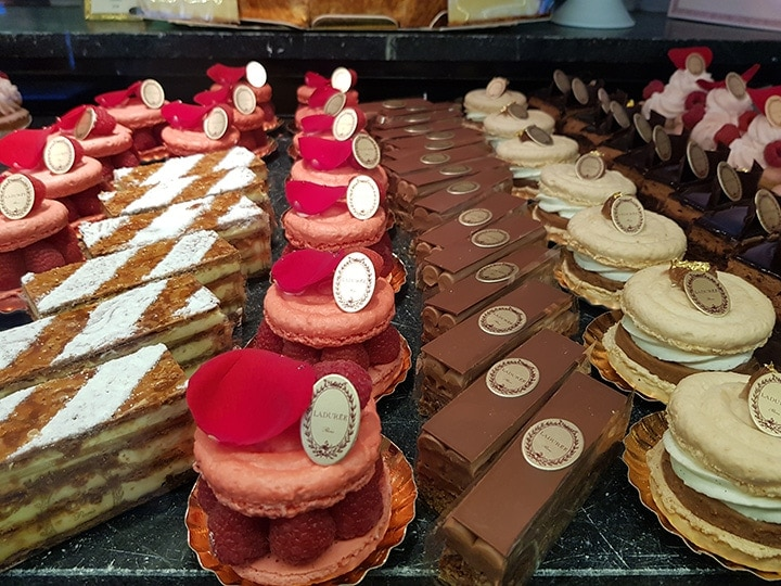 Cakes and pastries from Laduree bakery New York