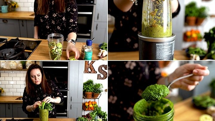 Collage showing steps to make Thai green curry paste