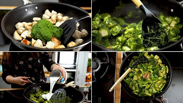 Collage showing steps to make Thai green chicken curry