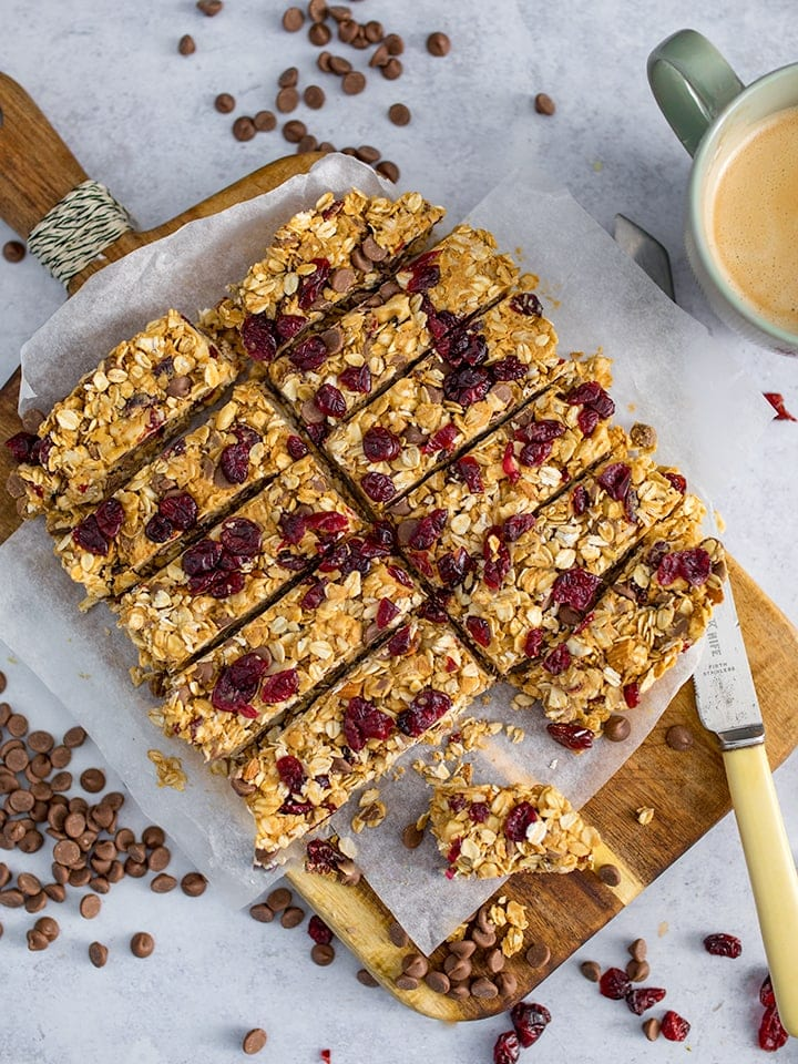 Peanut Butter Granola Bars sliced on a chopping board