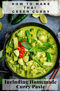 Pinterest image of Pan of Thai green chicken curry with vegetables on blue background