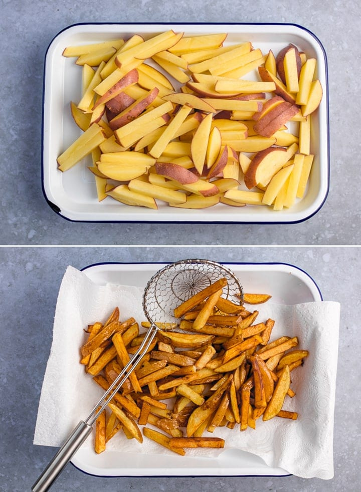 Collage of making fries