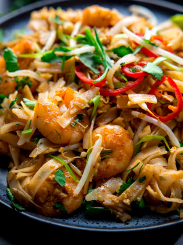 Prawn Pad Thai on a dark plate