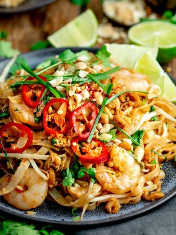Square image of a plate of prawn pad thai