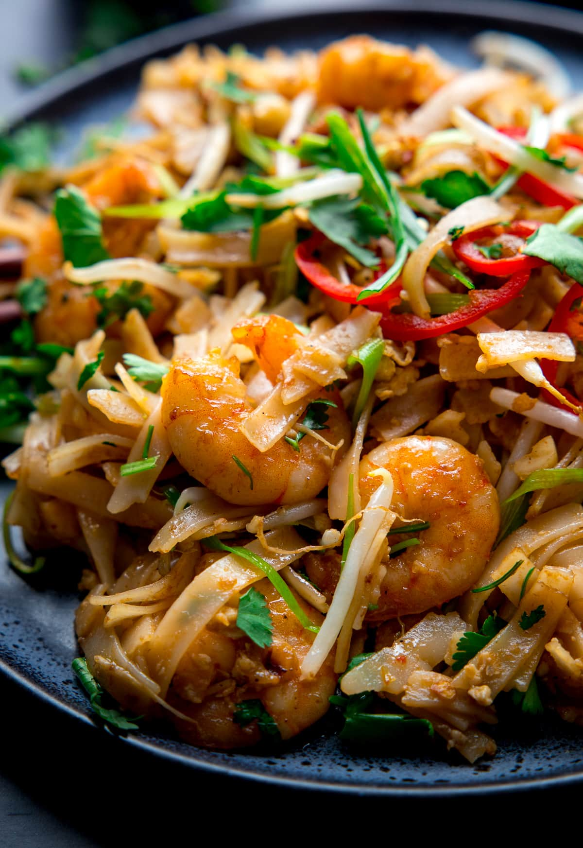 Close up image of Pad Thai with king prawns on a plate