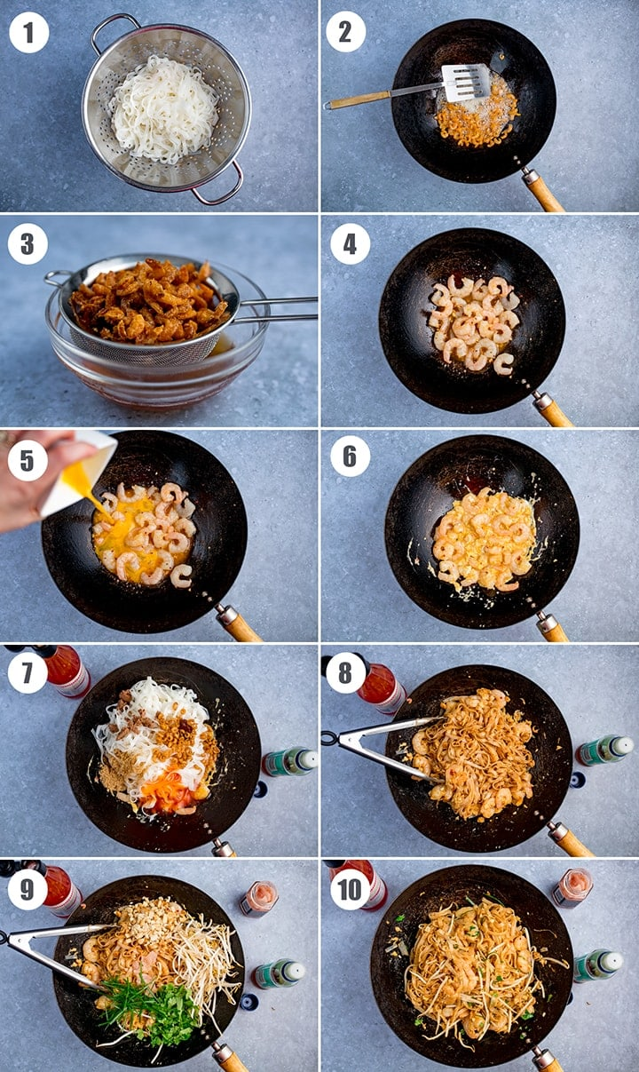 10 images in a collage showing how to make Pad Thai