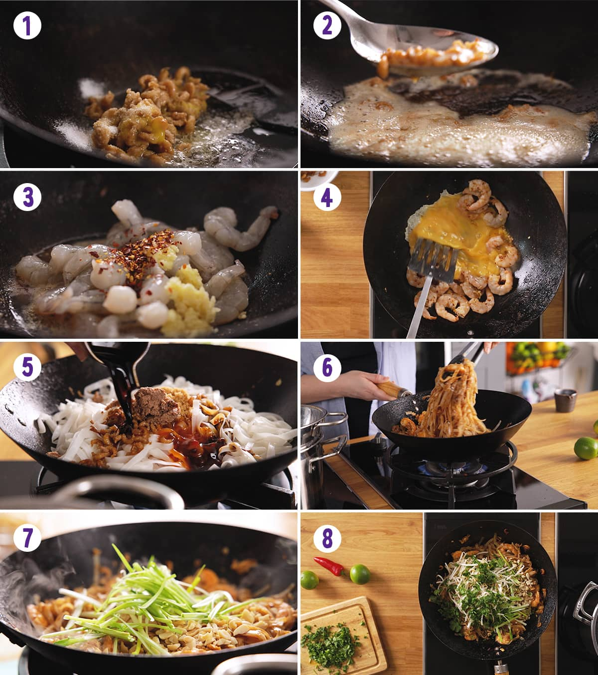 8 image collage showing how to make Pad Thai