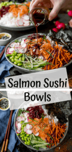 Two image collage of sushi salmon salad bowls