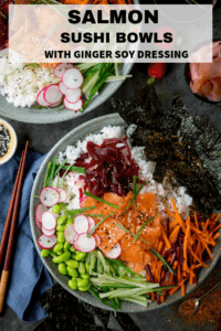 Sushi salmon salad bowl with text overlay