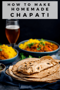 Image of piled up chapati on a plate with a text overlay