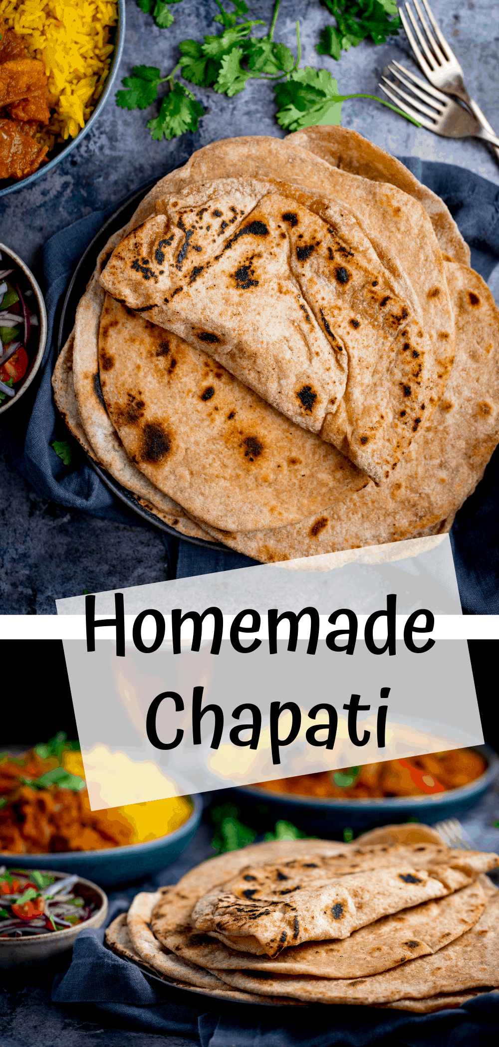 Two images of homemade chapati on a dark background