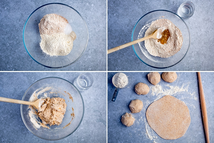 Collage of four images showing how to make chapati