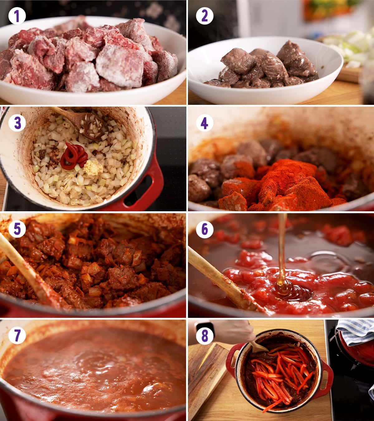 8 image collage showing how to make beef goulash