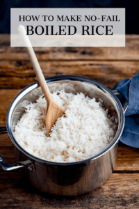 Boiled rice in a pan with text overlay