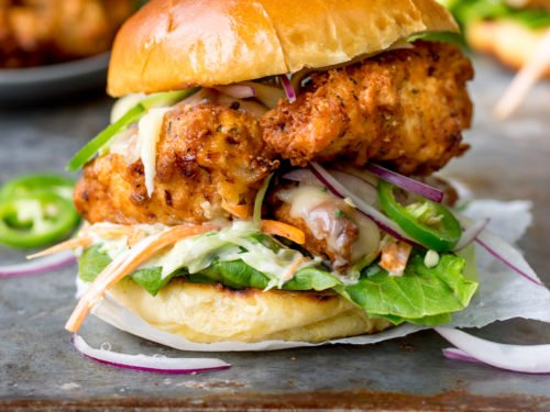 Crispy Chicken Burger With Honey Mustard Coleslaw Nicky S Kitchen Sanctuary
