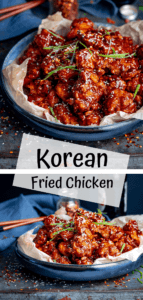Two image collage of crispy Korean chicken