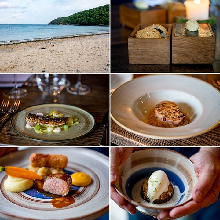 Collage of 6 images showing meal at Beach House Restaurant in Oxwich Bay