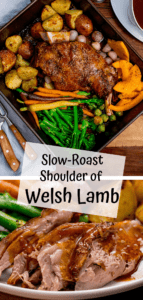 Two image collage of roast lamb shoulder and vegetables in a roasting tin with jug of gravy