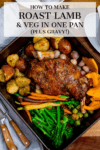 Image of roast lamb shoulder and vegetables in a roasting tin with jug of gravy - with a text overlay