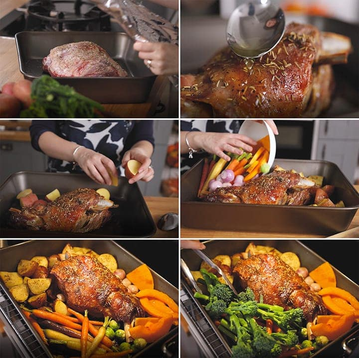 Collage of 6 images showing how to make roast lamb and vegetables in one tin