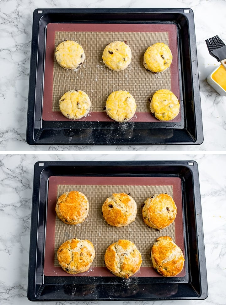 Two images of scones on a baking tray showing before and after baking