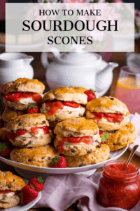 Plate of filled scones with a text overlay