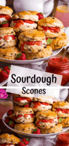 Two image collage of a plate of filled scones