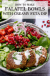 Salad bowl with falafel and feta dressing with text overlay