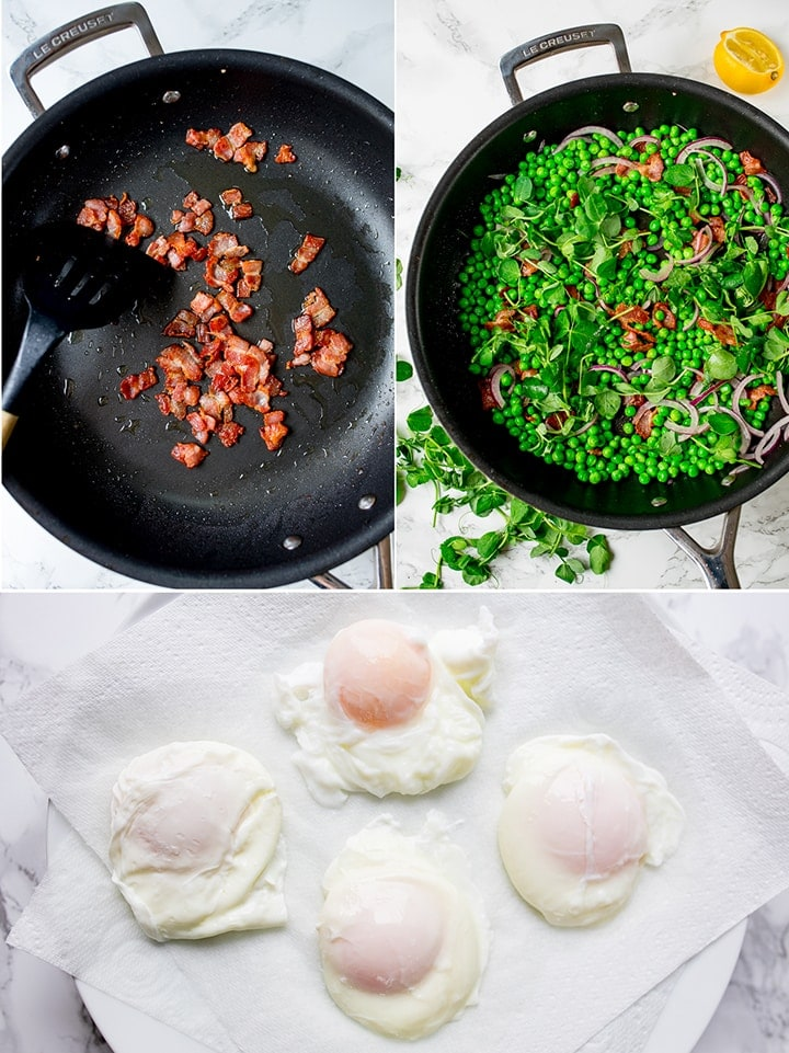 3 photo collage of making bacon and pea salad and poached eggs