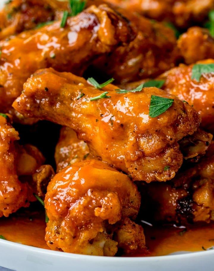 Close up of Buffalo chicken wings