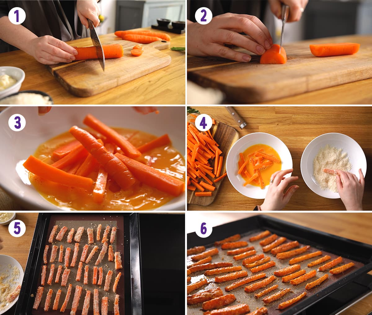 6 image collage showing how to make carrot fries