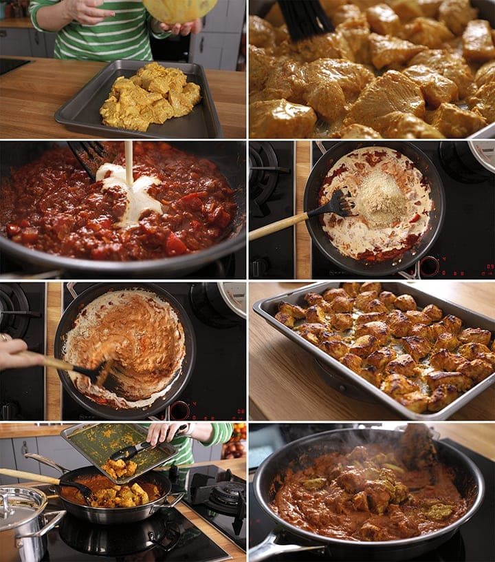 8 image collage showing how to make chicken tikka masala